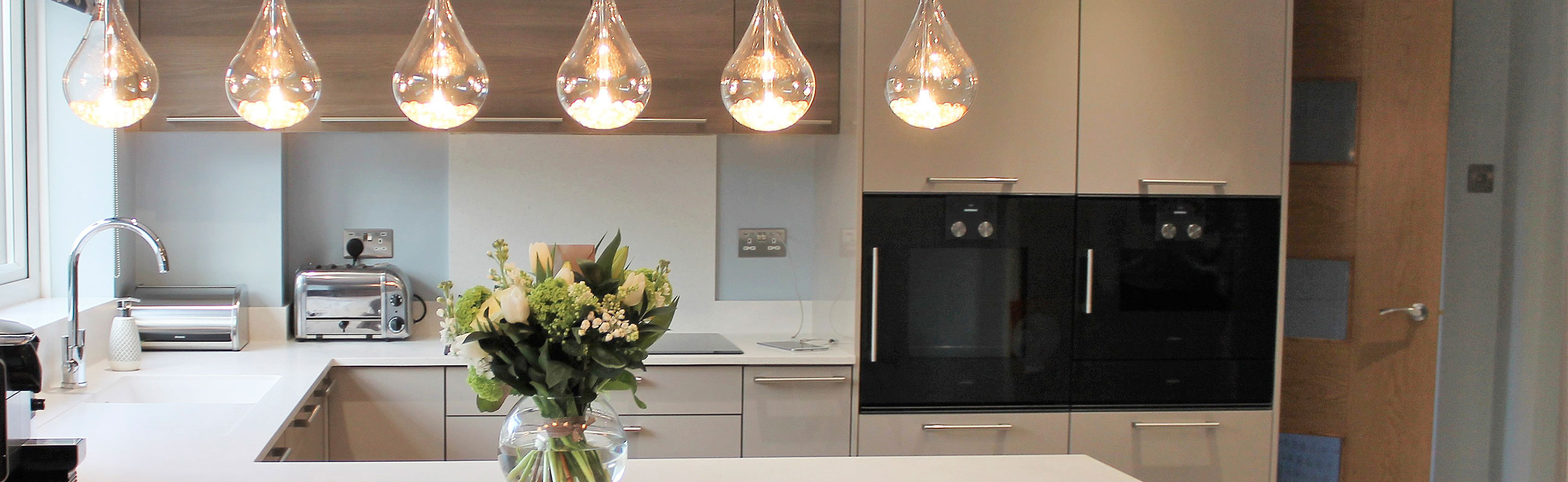 Handled German Kitchen With Statement Lighting And Gaggenau Appliances    Kedleston Interiors I Bespoke Kitchens And Bathrooms
