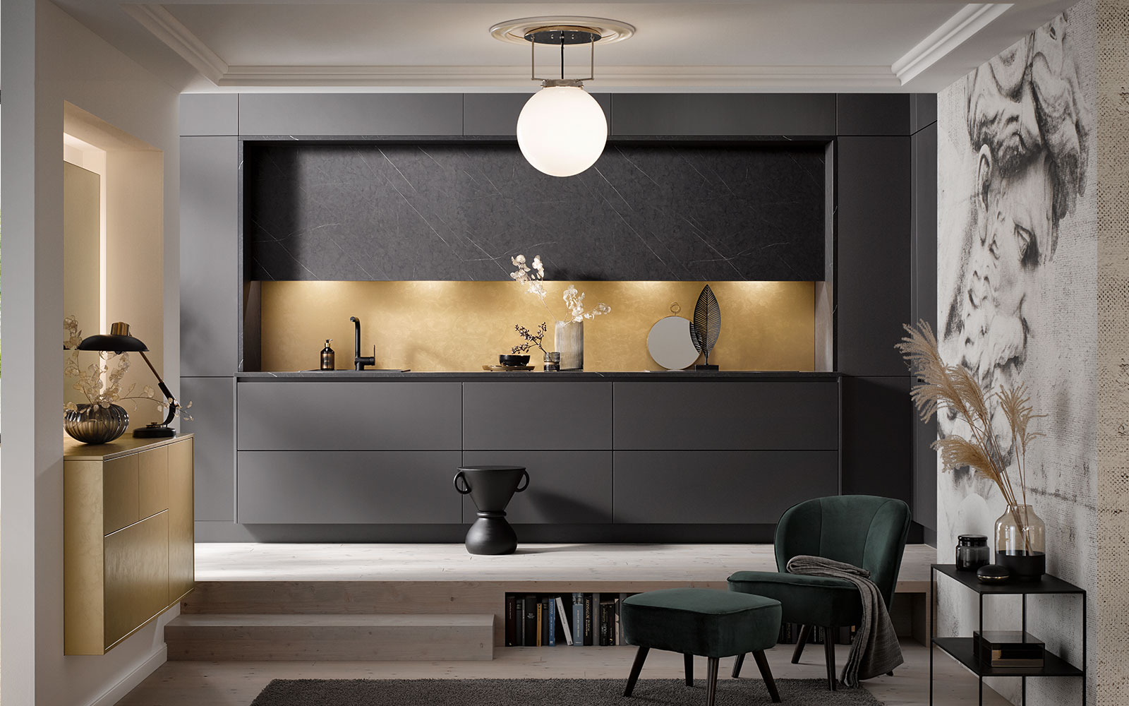 Grey Block Kitchen - Contemporary Living